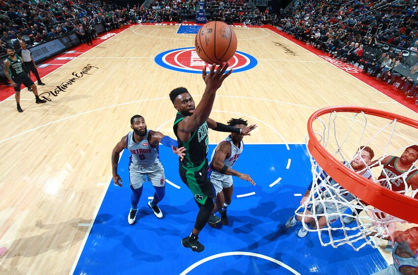 DETROIT, MI - OCTOBER 27: Jaylen Brown #7 of the Boston Celtics goes to the basket against the Detroit Pistons on October 27, 2018 at Little Caesars Arena in Detroit, Michigan. NOTE TO USER: User expressly acknowledges and agrees that, by downloading and/or using this photograph, user is consenting to the terms and conditions of the Getty Images License Agreement. Mandatory Copyright Notice: Copyright 2018 NBAE (Photo by Brian Sevald/NBAE via Getty Images)