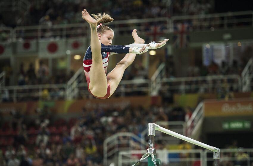 41279f0db868 Gymnastics: 2016 Summer Olympics: USA Madison Kocian (394) in action on  uneven