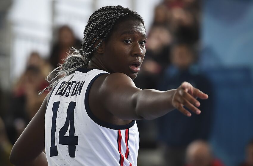 BUENOS AIRES, ARGENTINA - OCTOBER 12: Aliyah Boston of United States gestures in the Women Preliminary Round Pool B during day 6 of Buenos Aires 2018 Youth Olympic at Urban Park Puerto Madero on October 12, 2018 in Buenos Aires, Argentina. (Photo by Marcelo Endelli/Getty Images)