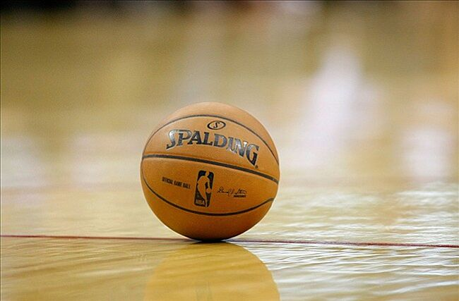 April 12, 2013; Houston, TX, USA; Detailed view of a NBA basketball on the court during a game between the Houston Rockets and Memphis Grizzlies in the first quarter at the Toyota Center. Mandatory Credit: Brett Davis-USA TODAY Sports