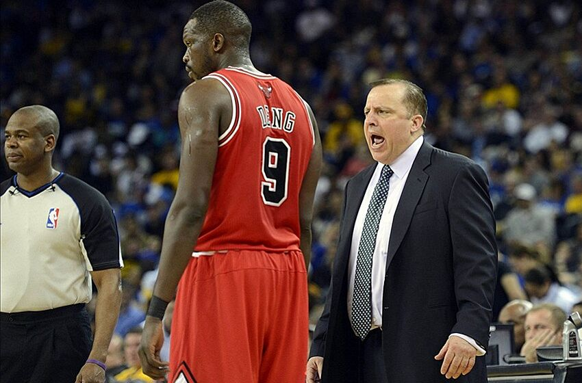 Mar 15, 2013; Oakland, CA, USA; Chicago Bulls head coach Tom Thibodeau on sidelines with forward Luol Deng (9) during the second half against the Golden State Warriors at Oracle Arena. Chicago won 113-95. Mandatory Credit: Bob Stanton-USA TODAY Sports