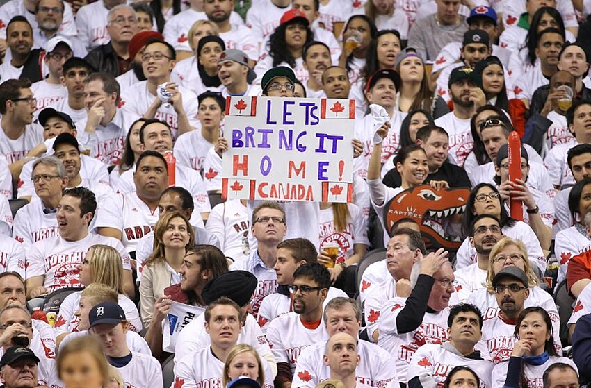 59885069 Apr 19, 2014; Toronto, Ontario, CAN; Toronto Raptors fans display a