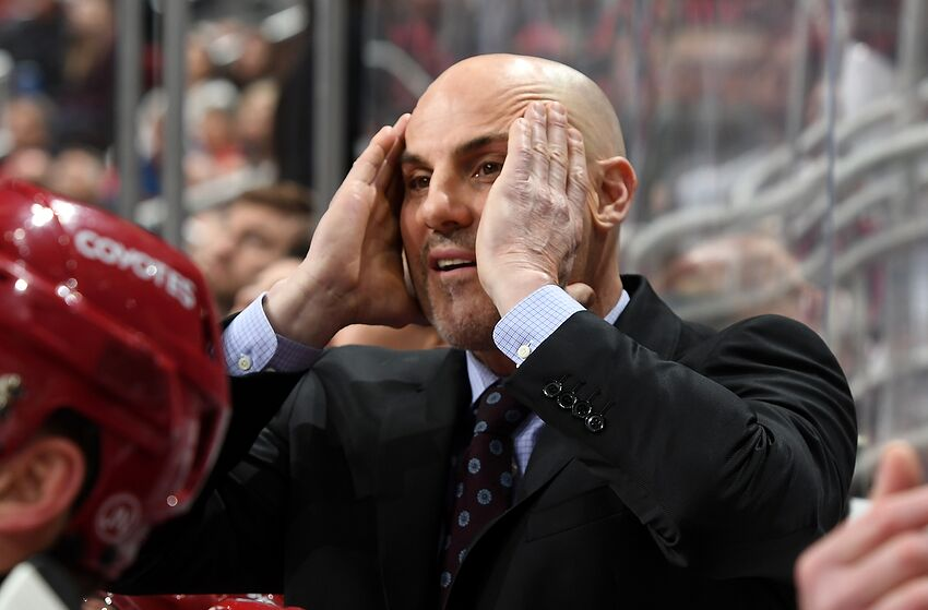 GLENDALE, AZ - MARCH 07: Head coach Rick Tocchet of the Arizona Coyotes reacts after a penalty call by officials during third period action against the Calgary Flames at Gila River Arena on March 7, 2019 in Glendale, Arizona. (Photo by Norm Hall/NHLI via Getty Images)