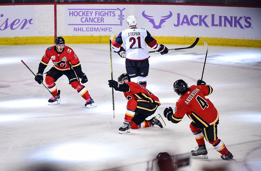 CALGARY, AB - NOVEMBER 05: Matthew Tkachuk #19 of the Calgary Flames celebrates after scoring the overtime winning goal against the Arizona Coyotes with Mikael Backlund #11 and Rasmus Andersson #4 of the Calgary Flames on November 5, 2019 at the Scotiabank Saddledome in Calgary, Alberta, Canada. (Photo by Brett Holmes/NHLI via Getty Images)