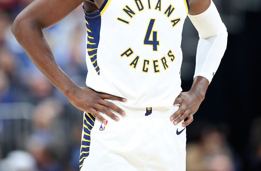c9c17cc4d11 INDIANAPOLIS, IN - OCTOBER 29: Victor Oladipo #4 of the Indiana Pacers  watches