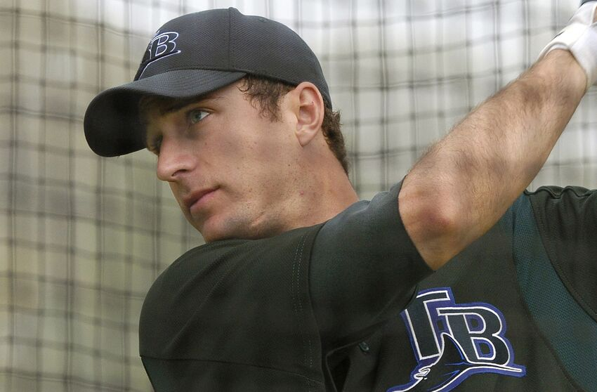 Tampa Bay Devil Rays outfielder Rocco Baldelli during practice at Raymond A. Naimoli baseball complex in St. Petersburg, Florida on February 23, 2006. (Photo by A. Messerschmidt/Getty Images) *** Local Caption ***