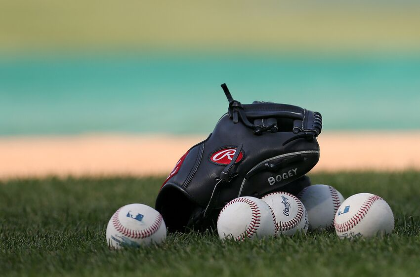 PHILADELPHIA, PA - JUNE 29: A glove and balls sit on the infield before a game between the Washington Nationals and Philadelphia Phillies at Citizens Bank Park on June 29, 2018 in Philadelphia, Pennsylvania. (Photo by Rich Schultz/Getty Images)