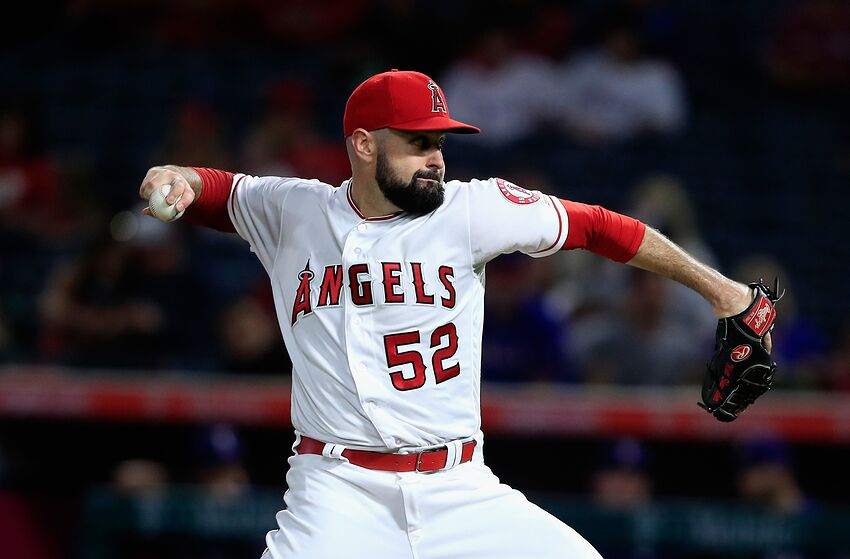ANAHEIM, CA - SEPTEMBER 25: Matt Shoemaker #52 of the Los Angeles Angels of Anaheim pitches during the first inning of a game against the Texas Rangers at Angel Stadium on September 25, 2018 in Anaheim, California. (Photo by Sean M. Haffey/Getty Images)