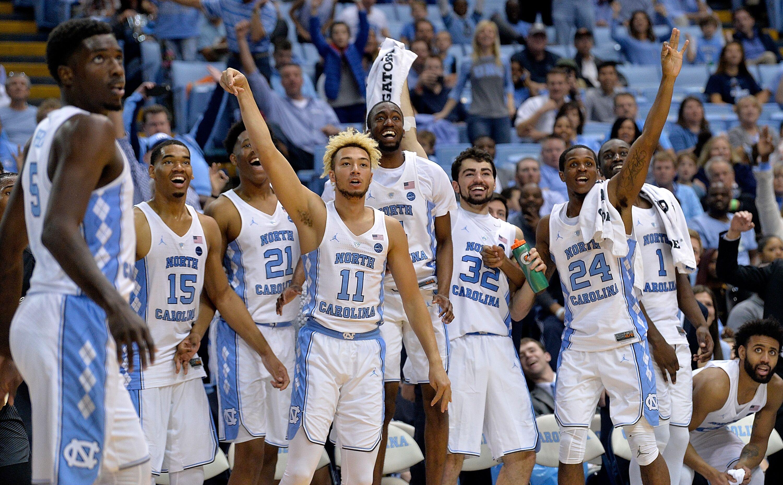 Chapel Hill Nc December  The North Carolina Tar Heels Bench Reacts As