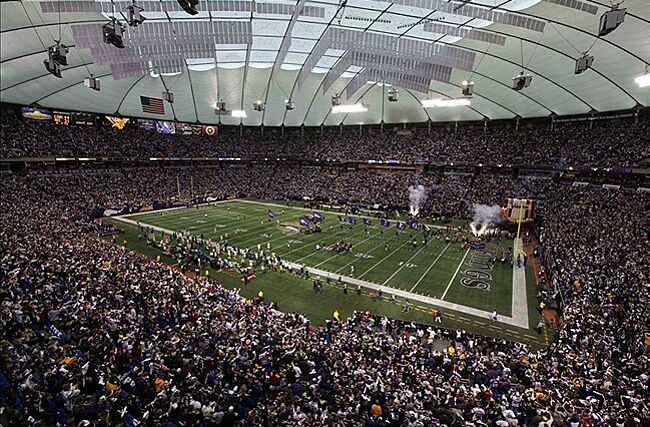 A General View Of The Metrodome Prior To Between Minnesota Vikings And Green