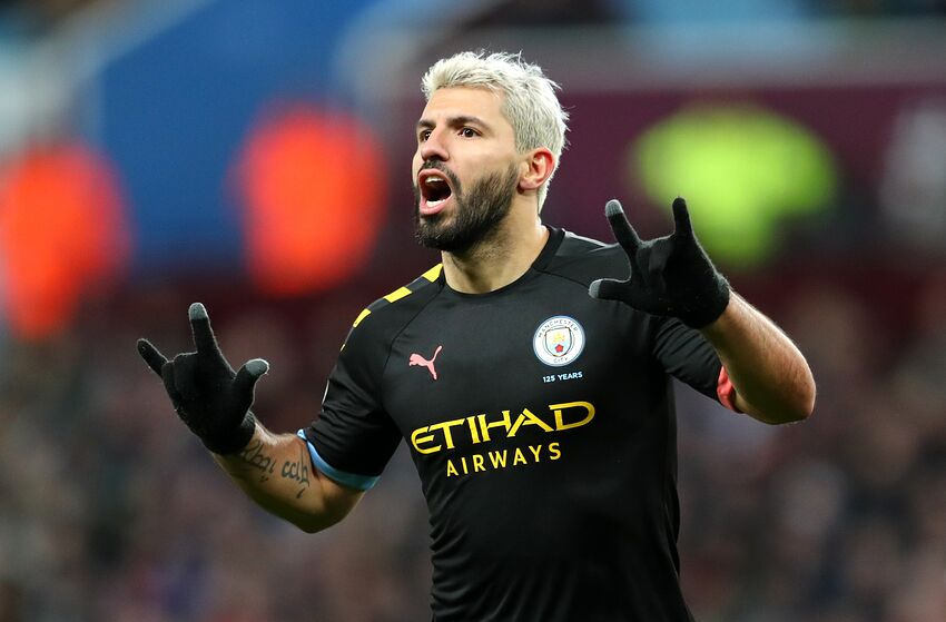 BIRMINGHAM, ENGLAND - JANUARY 12: Sergio Aguero of Manchester CIty celebrates after he scores his sides fifth goal during the Premier League match between Aston Villa and Manchester City at Villa Park on January 12, 2020 in Birmingham, United Kingdom. (Photo by Catherine Ivill/Getty Images)