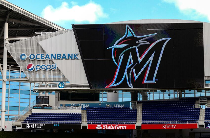 MIAMI, FL - MARCH 29: A general view of the new Marlins logo on the scoreboard at Marlins Park prior to the game between the Miami Marlins and the Colorado Rockies at Marlins Park on March 29, 2019 in Miami, Florida. (Photo by Mark Brown/Getty Images)