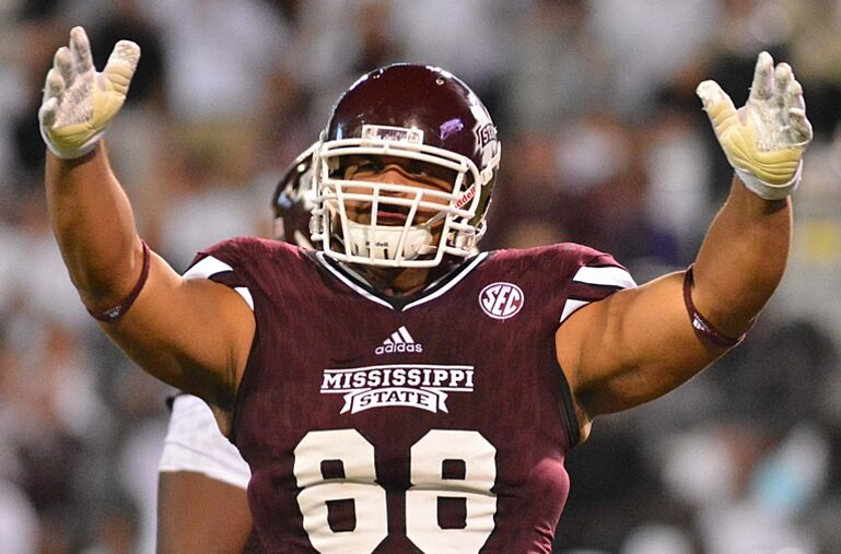 24b5024dea0 Sep 12, 2015; Starkville, MS, USA; Mississippi State Bulldogs defensive  lineman