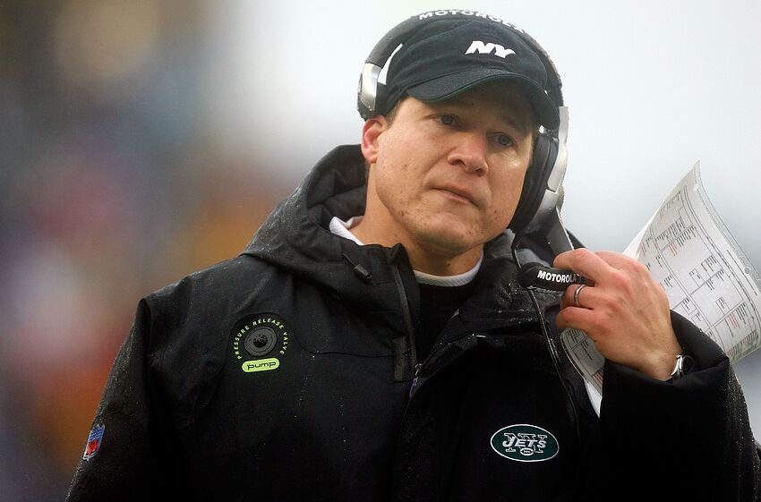 FOXBORO, MA - DECEMBER 16: Against the New England Patriots, coach Eric Mangini of the New York Jets watches the action at Gillette Stadium on December 16, 2007 in Foxboro, Massachusetts. The Patriots won 20-10. (Photo by Jim Rogash/Getty Images)