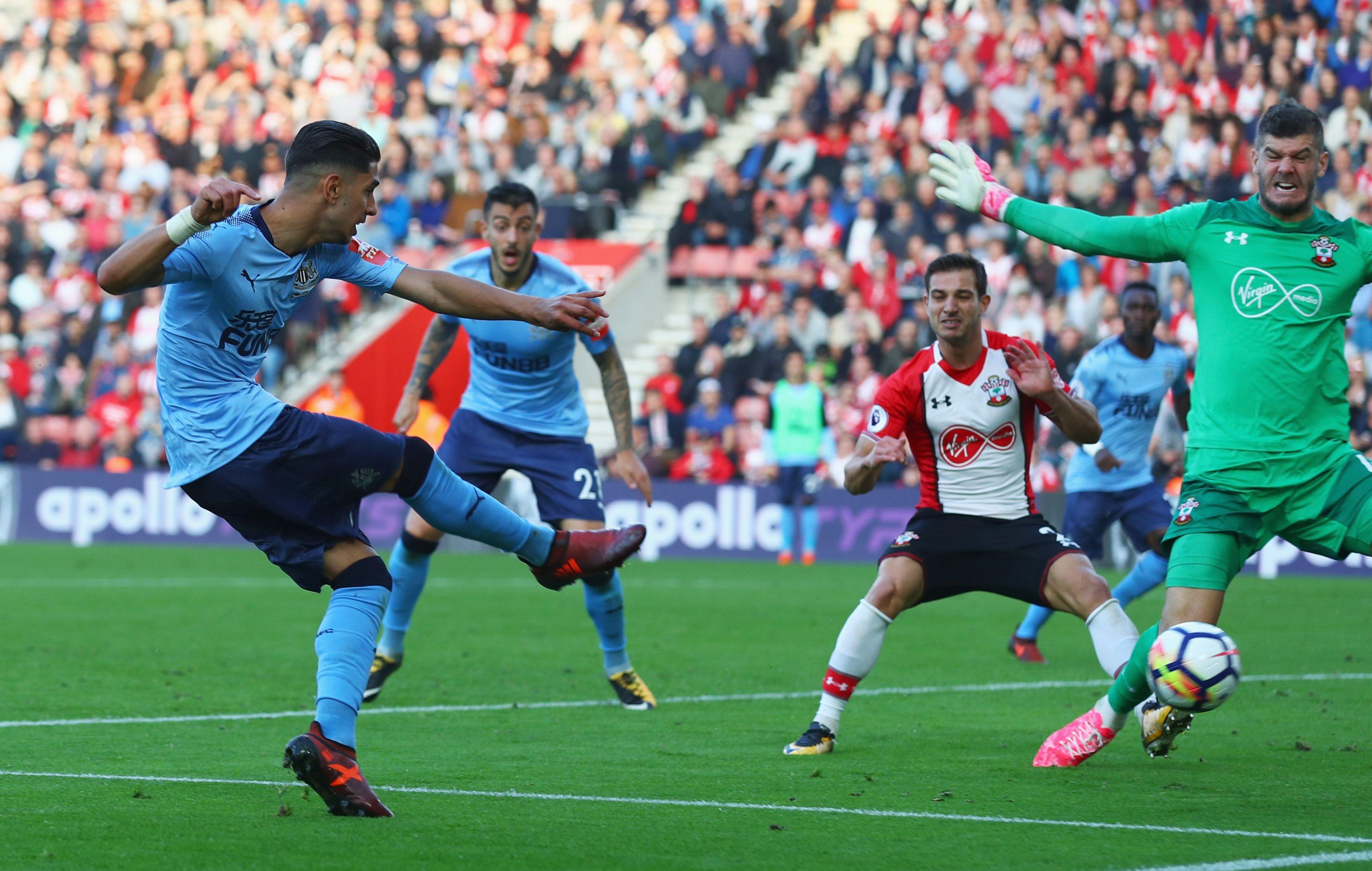 Southampton England October 15 Ayoze Perez Of Newcastle United Scores Their Second Goal