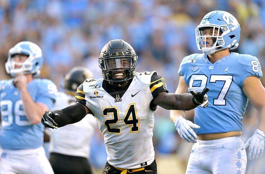 CHAPEL HILL, NORTH CAROLINA - SEPTEMBER 21: Akeem Davis-Gaither #24 of the Appalachian State Mountaineers reacts to a missed field goal by Noah Ruggles #97 of the North Carolina Tar Heels as time expires in their game at Kenan Stadium on September 21, 2019 in Chapel Hill, North Carolina. The Mountaineers won 34-31. (Photo by Grant Halverson/Getty Images)