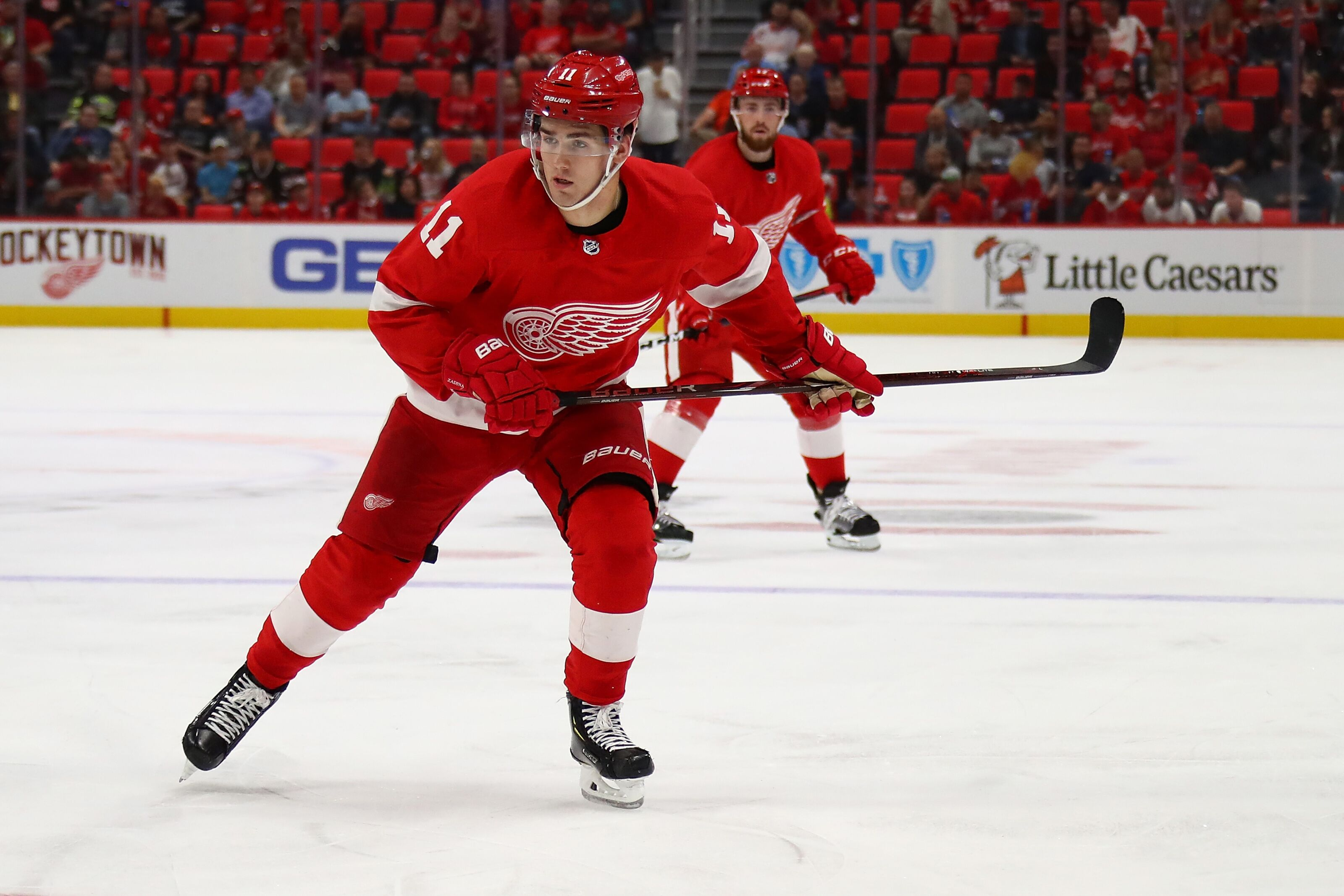DETROIT, MI - SEPTEMBER 20: Filip Zadina #11 of the Detroit Red Wings skates against the Chicago Blackhawks during a pre season game at Little Caesars Arena on September 20, 2018 in Detroit, Michigan. (Photo by Gregory Shamus/Getty Images)