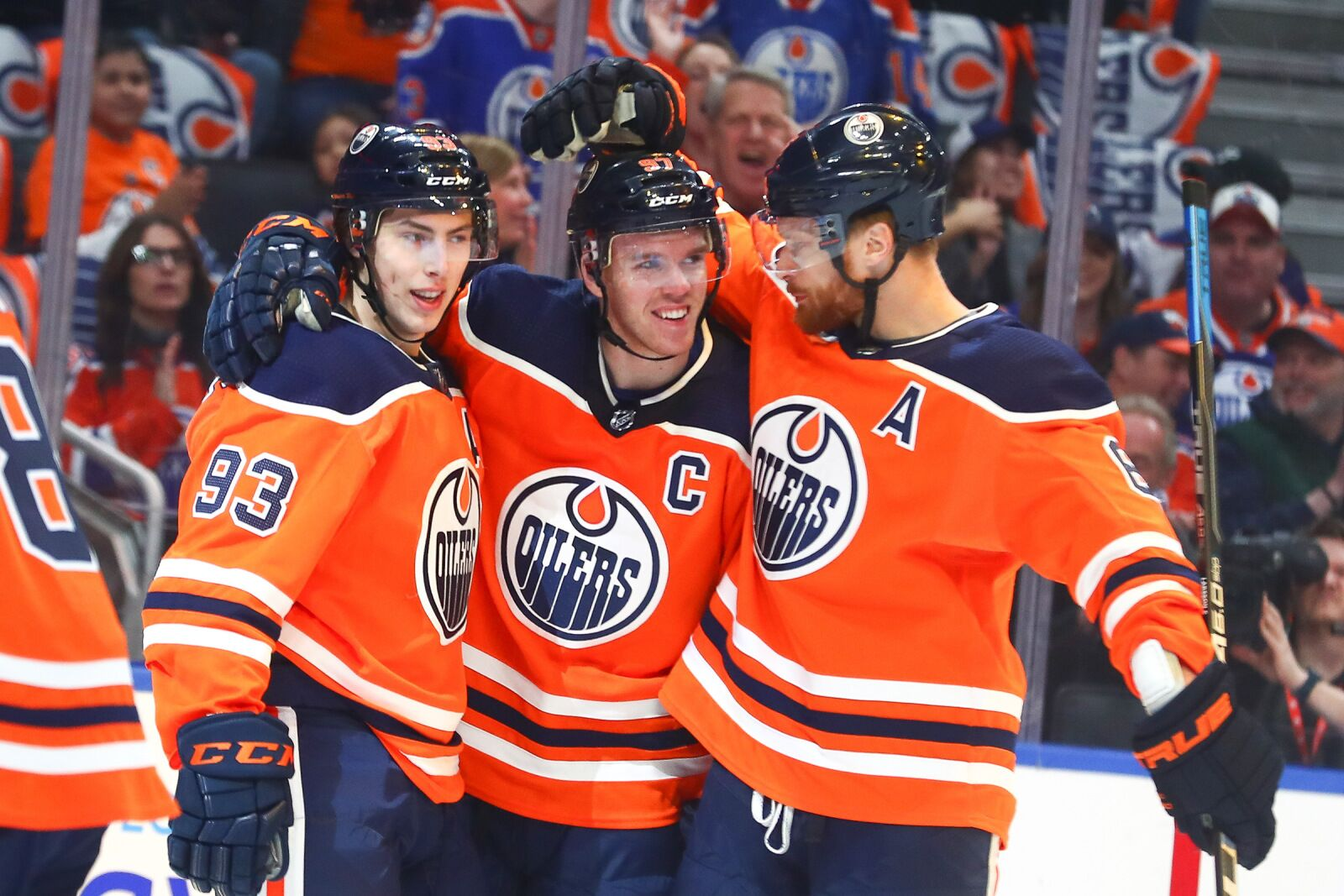 Edmonton Ab March  Edmonton Oilers Center Connor Mcdavid  Celebrates
