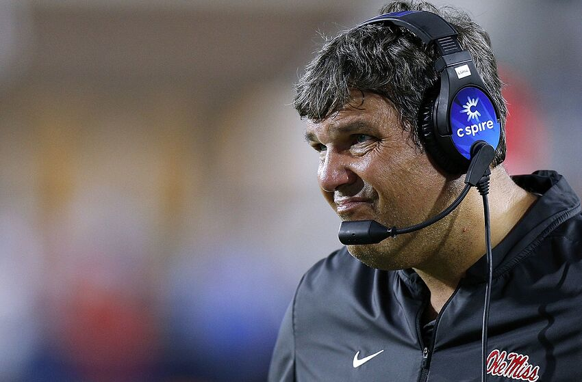 OXFORD, MS - SEPTEMBER 15: Head coach Matt Luke of the Mississippi Rebels reacts during the first half against the Alabama Crimson Tide at Vaught-Hemingway Stadium on September 15, 2018 in Oxford, Mississippi. (Photo by Jonathan Bachman/Getty Images)
