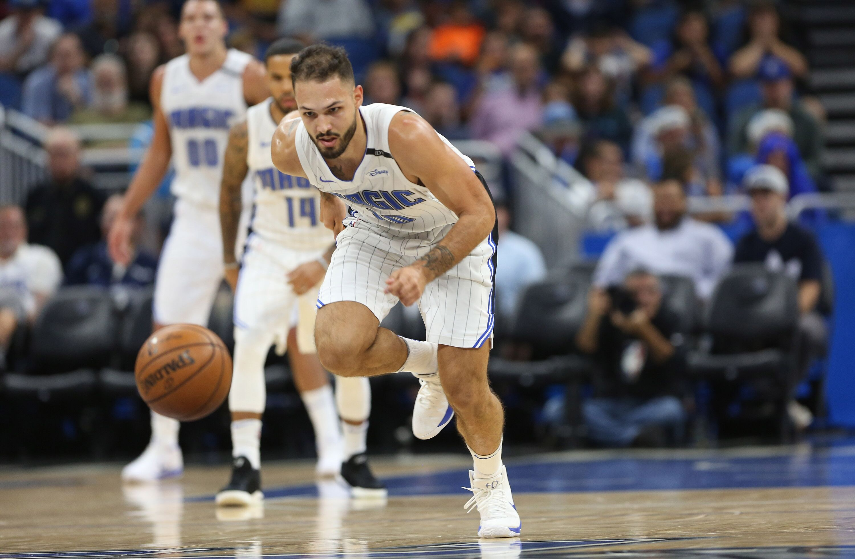 Orlando Magic forward-guard Evan Fournier (10) goes after a runaway ball --  The Orlando Magic hots the Atlanta Hawks at Amway Center, on Wednesday, December 6, 2017. With 8:00 left on the second quarter, the Magic were ahead, 35-29.(Ricardo Ramirez Buxeda/Orlando Sentinel/TNS)The Orlando Magic hots the Atlanta Hawks at Amway Center, on Wednesday, December 6, 2017. With 8:00 left on the second quarter, the Magic were ahead, 35-29.(Ricardo Ramirez Buxeda/Orlando Sentinel/TNS via Getty Images)