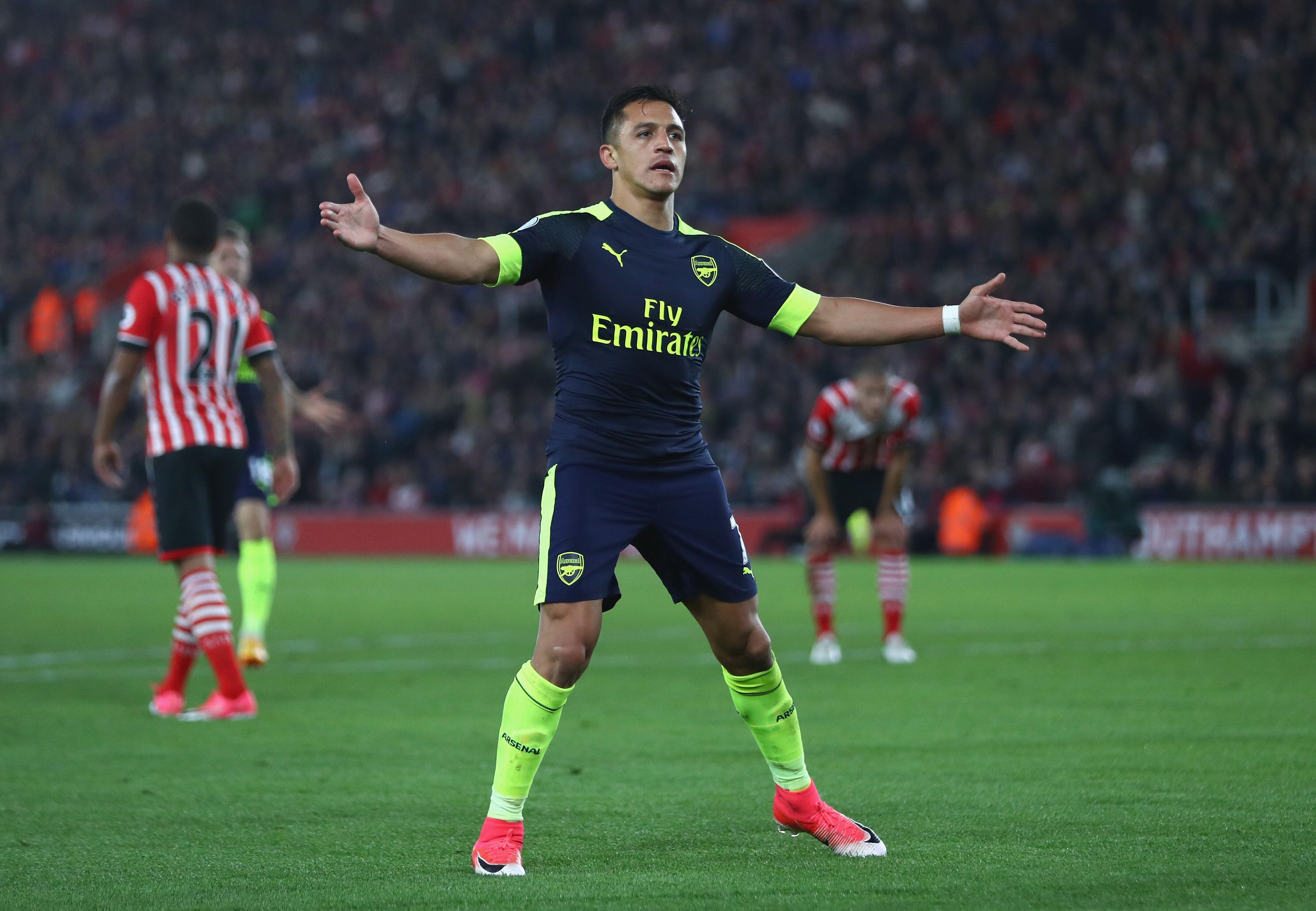 Southampton England May  Alexis Sanchez Of Arsenal Celebrates Scoring The Opening Goal