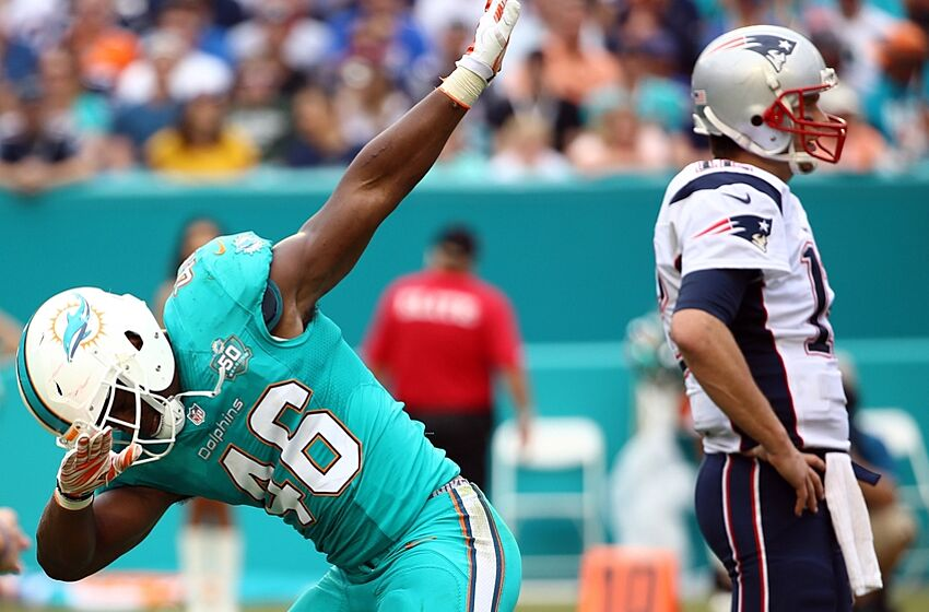 Jan 3, 2016; Miami Gardens, FL, USA; Miami Dolphins linebacker Neville Hewitt (46) reacts after tackling New England Patriots running back Brandon Bolden (not pictured) during the second half at Sun Life Stadium. The Dolphins won 20-10. Mandatory Credit: Steve Mitchell-USA TODAY Sports