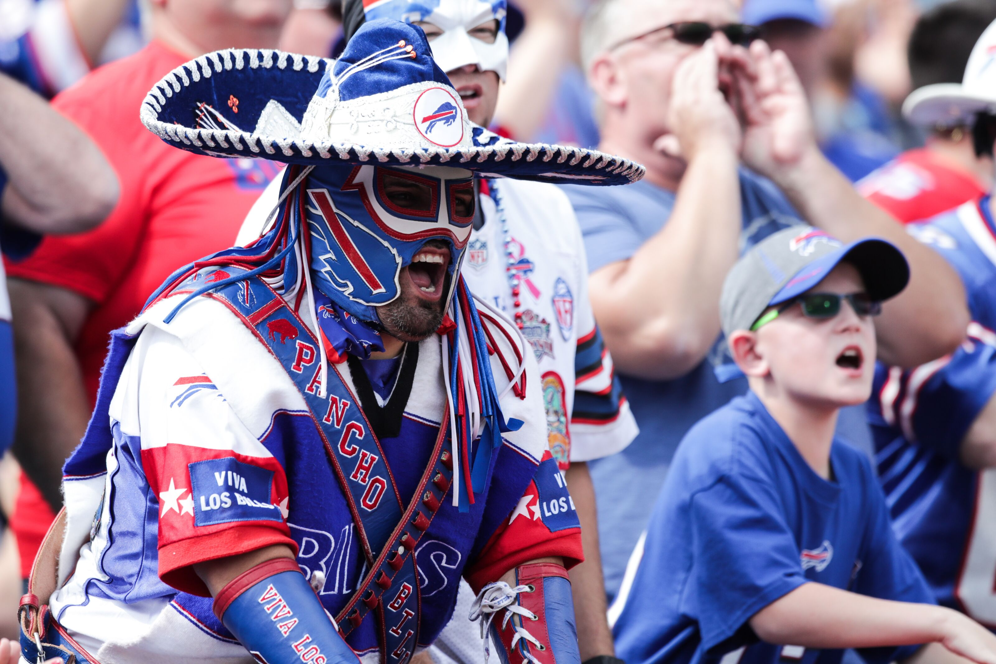 ORCHARD PARK, NY - SEPTEMBER 10: Buffalo Bills fans cheer during the first half against the New York Jets on September 10, 2017 at New Era Field in Orchard Park, New York. (Photo by Brett Carlsen/Getty Images)