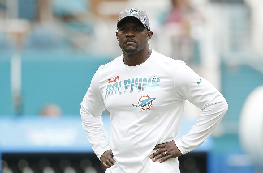 MIAMI, FLORIDA - OCTOBER 13: Head coach Brian Flores of the Miami Dolphins looks on prior to the game between the Washington Redskins and the Miami Dolphins at Hard Rock Stadium on October 13, 2019 in Miami, Florida. (Photo by Michael Reaves/Getty Images)
