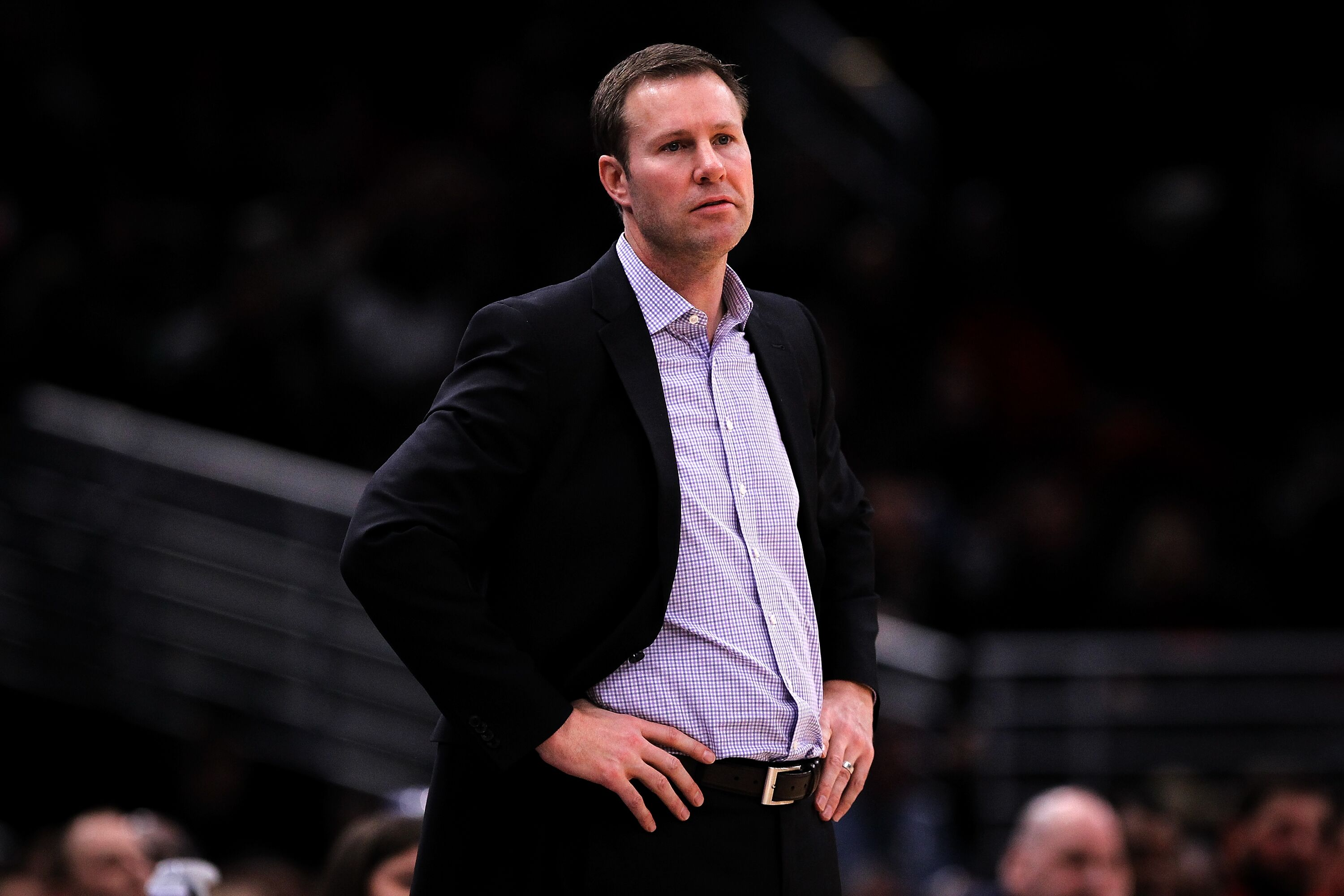 CHICAGO, IL - JANUARY 01: Head coach Fred Hoiberg of the Chicago Bulls looks on in the fourth quarter against the Portland Trail Blazers at the United Center on January 1, 2018 in Chicago, Illinois. NOTE TO USER: User expressly acknowledges and agrees that, by downloading and or using this photograph, User is consenting to the terms and conditions of the Getty Images License Agreement. (Photo by Dylan Buell/Getty Images)