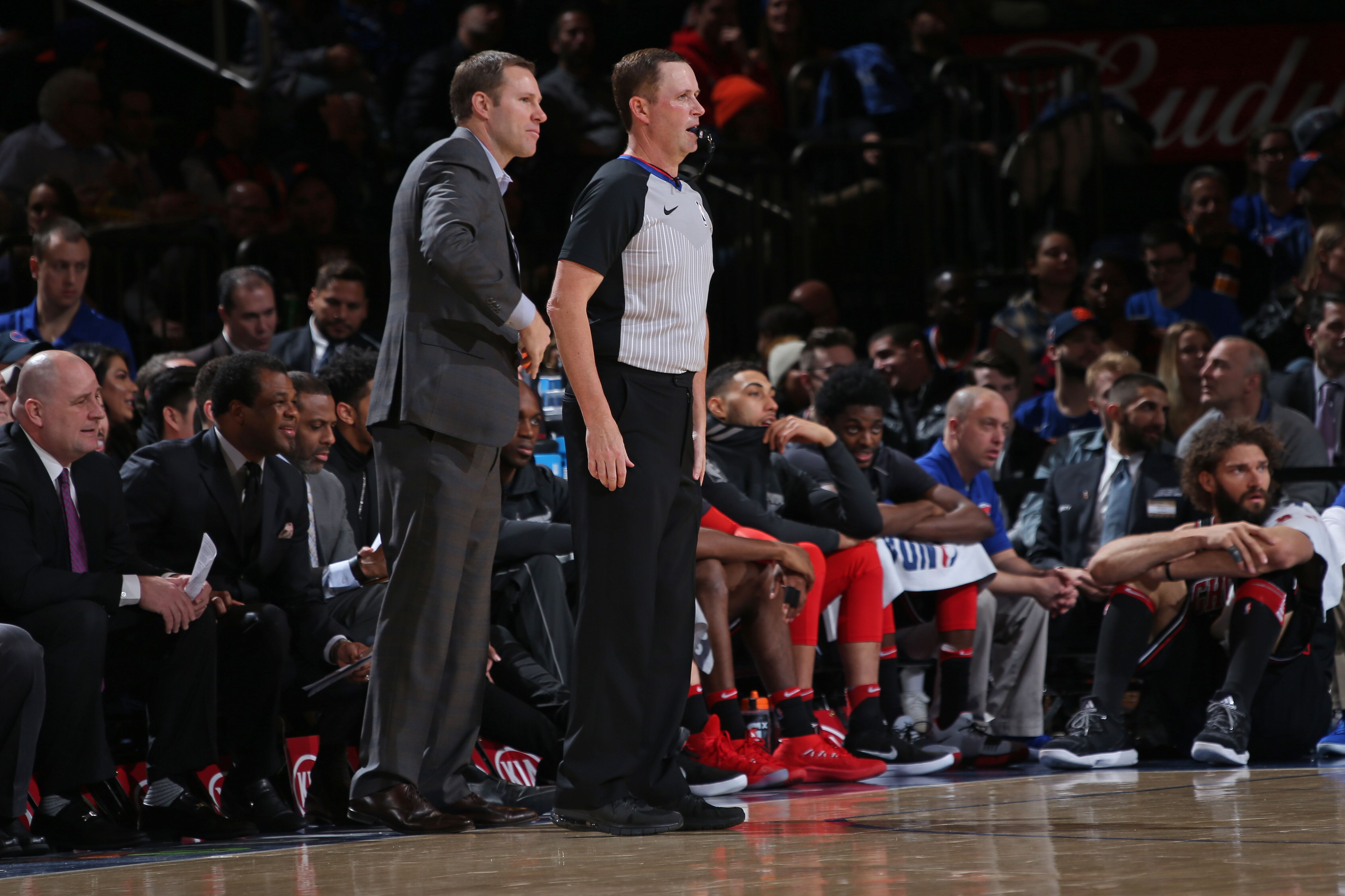 NEW YORK, NY - JANUARY 10: Referee, Matt Boland and Fred Hoiberg of the Chicago Bulls look on during the game against the New York Knicks on January 10, 2018 at Madison Square Garden in New York City, New York. NOTE TO USER: User expressly acknowledges and agrees that, by downloading and or using this photograph, User is consenting to the terms and conditions of the Getty Images License Agreement. Mandatory Copyright Notice: Copyright 2018 NBAE (Photo by Steven Freeman/NBAE via Getty Images)