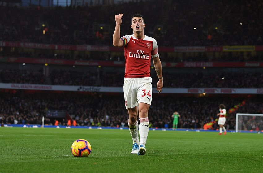 LONDON, ENGLAND - DECEMBER 02: Arsenal captain Grant Xhaka during the Premier League match between Arsenal FC and Tottenham Hotspur at Emirates Stadium on December 1, 2018 in London, United Kingdom. (Photo by Stuart MacFarlane/Arsenal FC via Getty Images)