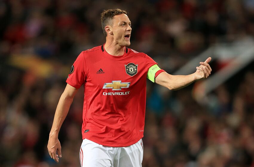 MANCHESTER, ENGLAND - SEPTEMBER 19: Nemanja Matic of Man Utd gestures during the UEFA Europa League group L match between Manchester United and FK Astana at Old Trafford on September 19, 2019 in Manchester, United Kingdom. (Photo by Simon Stacpoole/Offside/Offside via Getty Images)
