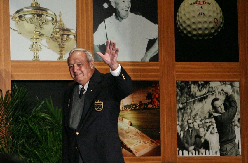 ST AUGUSTINE, FL - NOVEMBER 02: PGA Hall of Fame golfer Arnold Palmer prepares