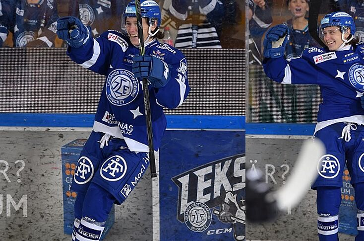 63f98d40 LEKSAND, SWEDEN - OCTOBER 09: Frederik Forsberg and Jon Knuts of Leksands  IF during