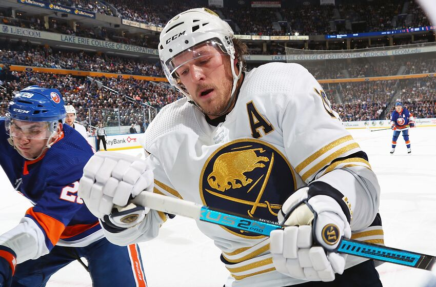 BUFFALO, NY - NOVEMBER 2: Jake McCabe #19 of the Buffalo Sabres skates along the boards during an NHL game against the New York Islanders on November 2, 2019 at KeyBank Center in Buffalo, New York. (Photo by Sara Schmidle/NHLI via Getty Images)