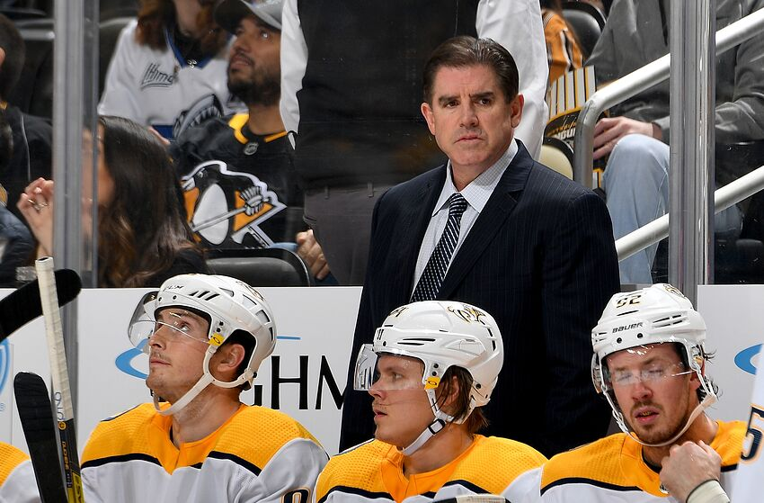 PITTSBURGH, PA - DECEMBER 28: Head coach Peter Laviolette of the Nashville Predators looks on against the Pittsburgh Penguins at PPG PAINTS Arena on December 28, 2019 in Pittsburgh, Pennsylvania. (Photo by Joe Sargent/NHLI via Getty Images)