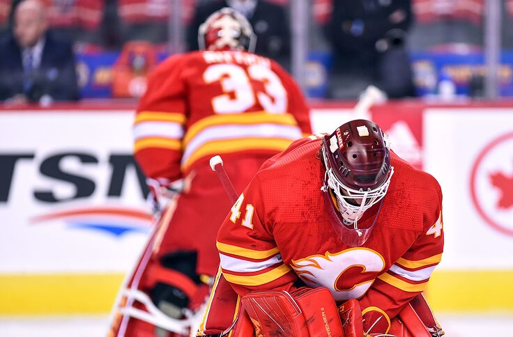 buy popular 80ad0 bf1df Calgary Flames must answer questions in the crease
