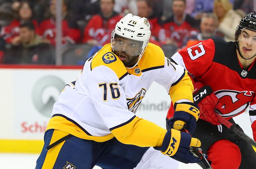 NEWARK, NJ - OCTOBER 25: Nashville Predators defenseman P.K. Subban (76) skates during the National Hockey League Game between the New Jersey Devils and the Nashville Predators on October 25, 2018 at the Prudential Center in Newark, NJ. (Photo by Rich Graessle/Icon Sportswire via Getty Images)