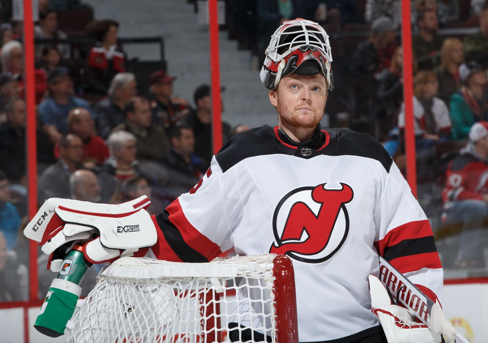 OTTAWA, ON - NOVEMBER 6: Cory Schneider #35 of the New Jersey Devils tends net against the Ottawa Senators at Canadian Tire Centre on November 6, 2018 in Ottawa, Ontario, Canada. (Photo by Andre Ringuette/NHLI via Getty Images)