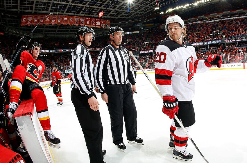 968ec47a CALGARY, AB - MARCH 12: Blake Coleman #20 of the New Jersey Devils