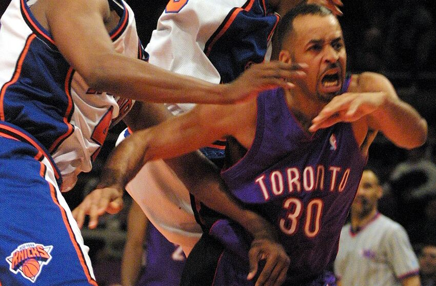 5cd217213 Toronto Raptors and Knew York Knicks 2001 Playoffs (Photo credit should  read MATT CAMPBELL