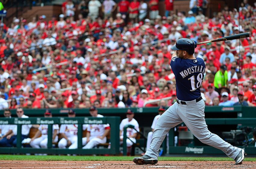 ST LOUIS, MO - AUGUST 19: Mike Moustakas #18 of the Milwaukee Brewers hits a two-run double during the third inning against the St. Louis Cardinals at Busch Stadium on August 19, 2018 in St Louis, Missouri. (Photo by Jeff Curry/Getty Images)