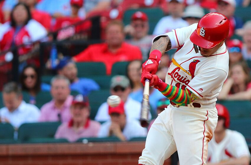 ST. LOUIS, MO - MAY 5: Kolten Wong #16 of the St. Louis Cardinals hits a two-run walk-off home run against the Chicago Cubs in the tenth inning at Busch Stadium on May 5, 2018 in St. Louis, Missouri. (Photo by Dilip Vishwanat/Getty Images)