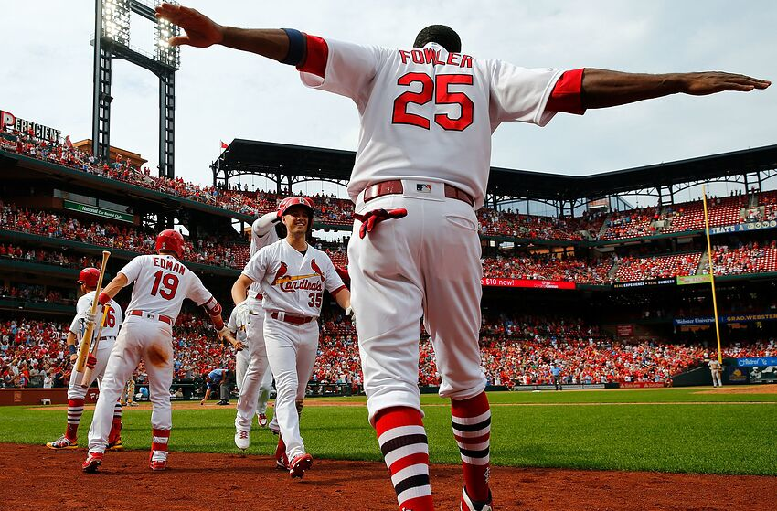 ST LOUIS, MO - AUGUST 11: Lane Thomas #35 of the St. Louis Cardinals is congratulated by teammates after hitting a grand slam against the Pittsburgh Pirates in the seventh inning at Busch Stadium on August 11, 2019 in St Louis, Missouri. (Photo by Dilip Vishwanat/Getty Images)