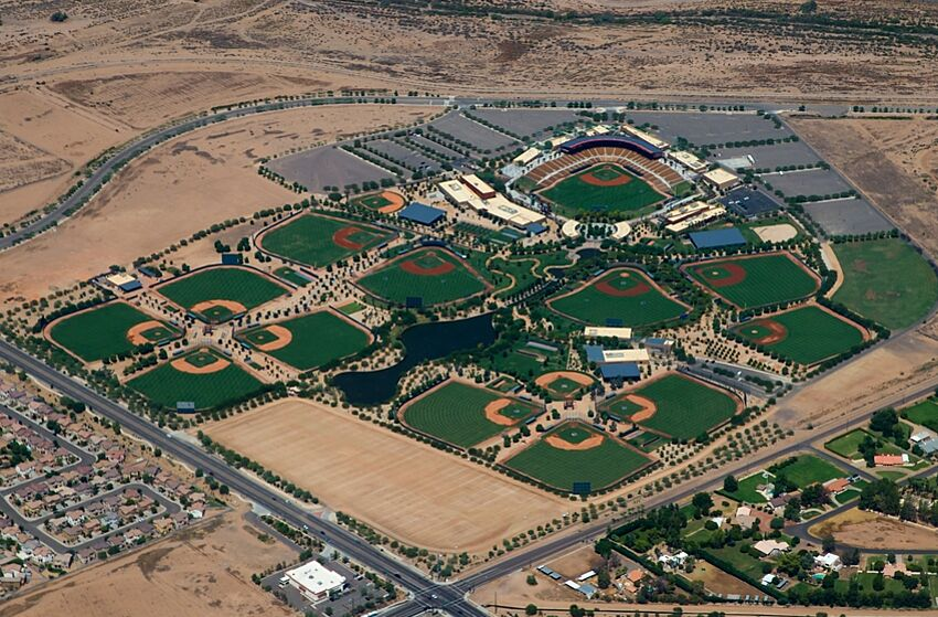 Aug 24, 2015; Glendale, AZ, USA; Aerial view of the baseball fields and stadium of Camelback Ranch , the spring training home of the Los Angeles Dodgers and the Chicago White Sox. Mandatory Credit: Mark J. Rebilas-USA TODAY Sports