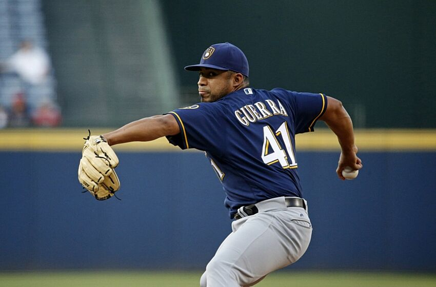 May 25, 2016; Atlanta, GA, USA; Milwaukee Brewers starting pitcher Junior Guerra (41) delivers a pitch to an Atlanta Braves batter in the first inning of their game at Turner Field. Mandatory Credit: Jason Getz-USA TODAY Sports