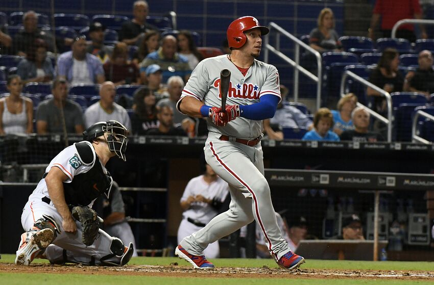 MIAMI, FL - SEPTEMBER 4: Asdrubal Cabrera #13 of the Philadelphia Phillies hits a double in the second inning against the Miami Marlins at Marlins Park on September 4, 2018 in Miami, Florida. (Photo by Eric Espada/Getty Images)