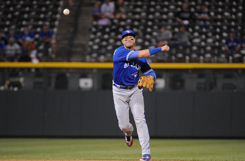 DENVER, CO - JUNE 28: Troy Tulowitzki #2 of the Toronto Blue Jays throws to first base for an out in the sixth inning against the Colorado Rockies at Coors Field on June 28, 2016 in Denver, Colorado. The Toronto Blue Jays defeat the Colorado Rockies 14-9. (Photo by Bart Young/Getty Images)