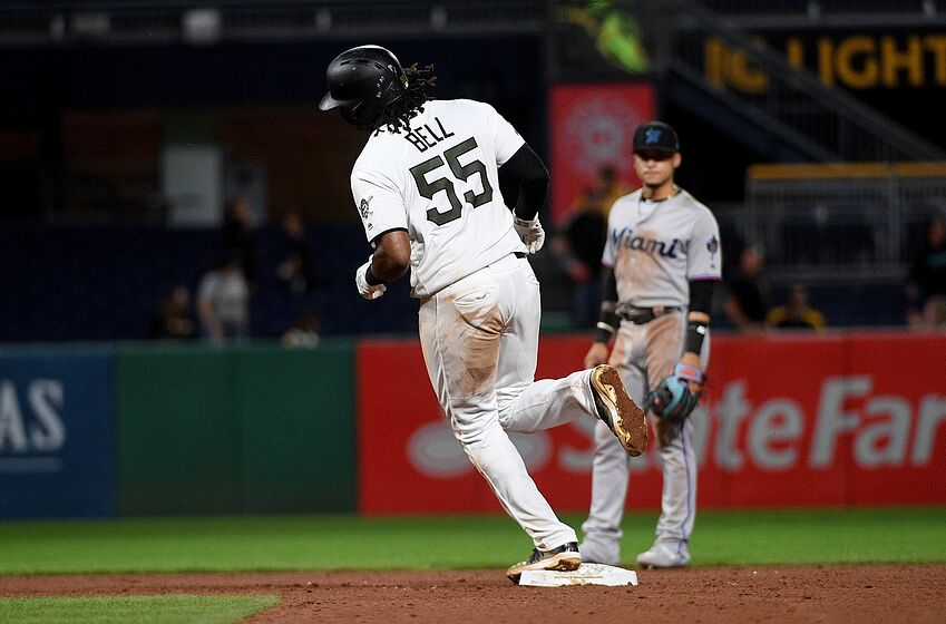 PITTSBURGH, PA - SEPTEMBER 05: Josh Bell #55 of the Pittsburgh Pirates rounds the bases after hitting a home run in the ninth inning during the game against the Miami Marlins at PNC Park on September 5, 2019 in Pittsburgh, Pennsylvania. (Photo by Justin Berl/Getty Images)