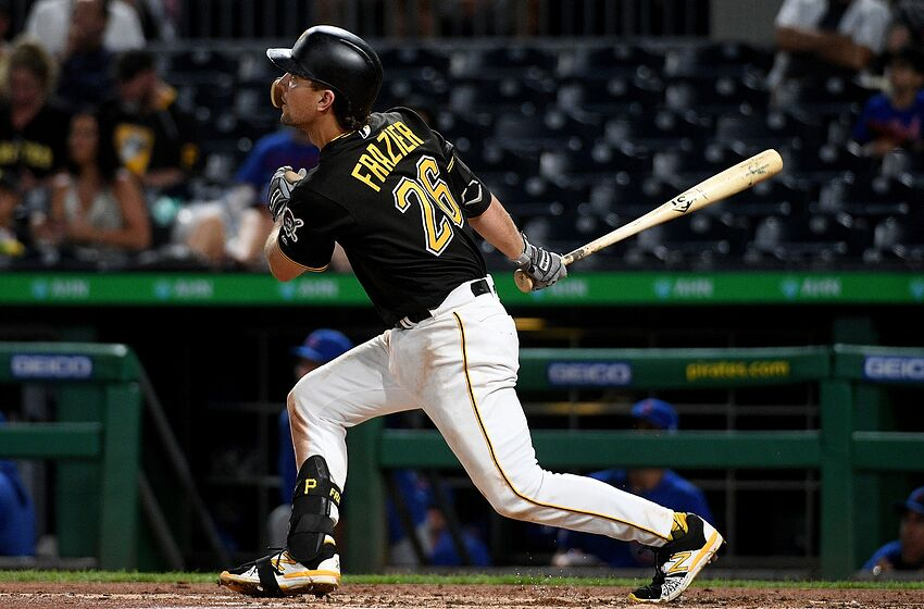 PITTSBURGH, PA - JULY 02: Adam Frazier #26 of the Pittsburgh Pirates hits a three run home run to right field in the fourth inning during the game against the Chicago Cubs at PNC Park on July 2, 2019 in Pittsburgh, Pennsylvania. (Photo by Justin Berl/Getty Images)